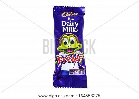 LONDON UK - JANUARY 4TH 2017: An unopened Freddo Dairy Milk chocolate bar manufactured by Cadbury pictured over a plain white background on 4th January 2017.