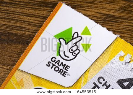 LONDON UK - JANUARY 4TH 2017: The Game Store symbol on the corner of a scratchcard on 4th January 2017. Game Store scratchcards are part of the state-franchised National Lottery operated by the Camelot Group.