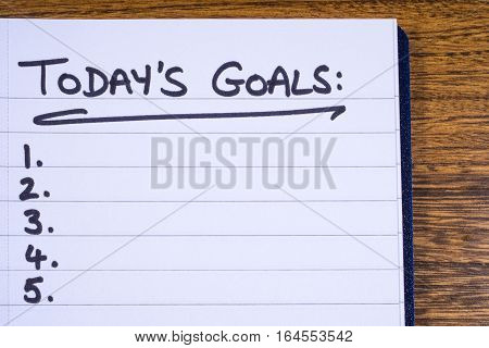A checklist for goals to be achieved today.