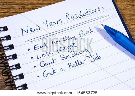 A list of New Years Resolutions written on a notepad.
