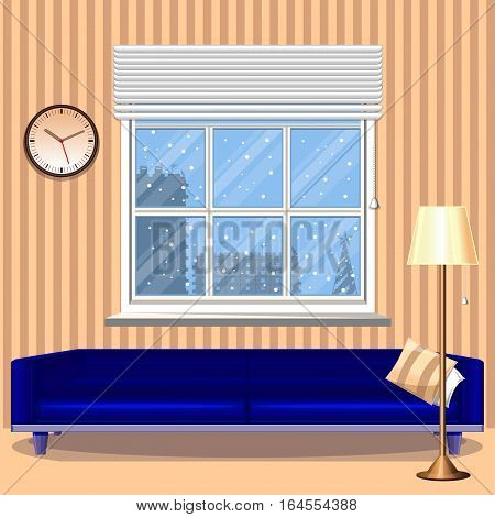 The interior of the room. Living room with a large window. Behind a window winter. A large blue sofa. Floor lamp. Wall clock. Vector illustration