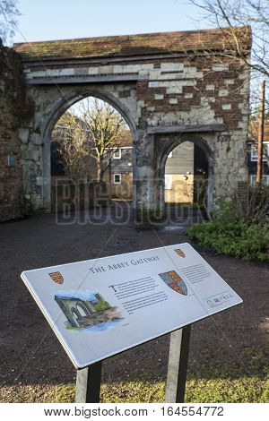 WALTHAM ABBEY UK - JANUARY 2ND 2017: The remains of the historic Abbey Gateway in Waltham Abbey Essex on 2nd January 2017.
