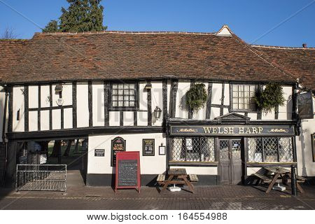 WALTHAM ABBEY UK - JANUARY 2ND 2017: The Welsh Harp public house in Waltham Abbey Essex on 2nd January 2017. It is a fine example of a 15th Century Half Timbered building.