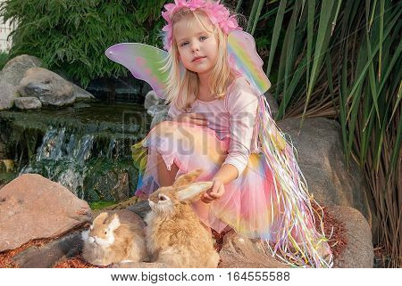 cute fairy girl with rabbits in rock garden
