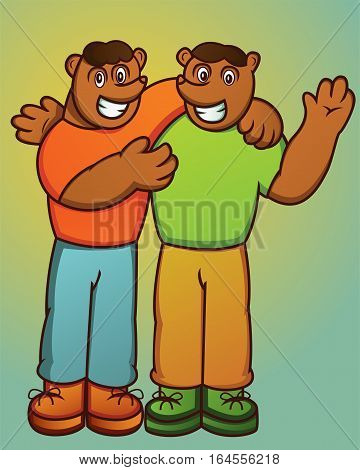 Illustration of two happy brother bears cartoon animal characters.