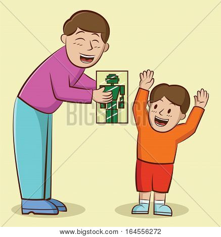 Illustration of a father giving a present to his son. Vector cartoon character.