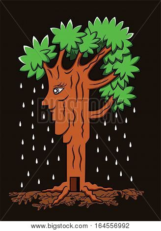 Illustration of a beautiful tree with face. Vector cartoon.