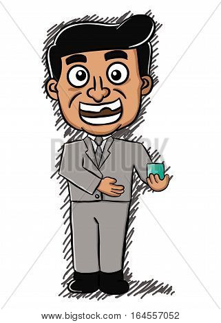 Cartoon illustration of a salesman offering a product. Vector character.