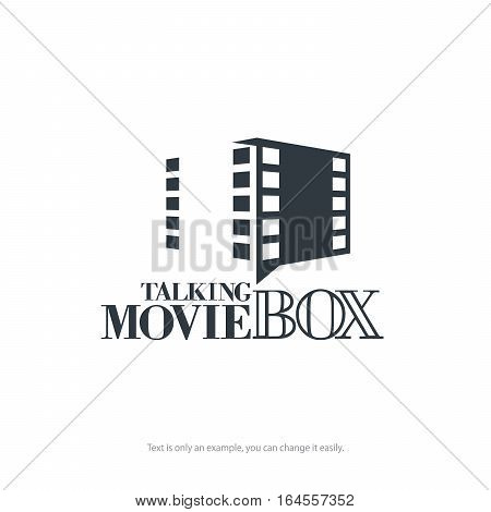 Vector logo template. Movie box with filmstrip. Minimal design.