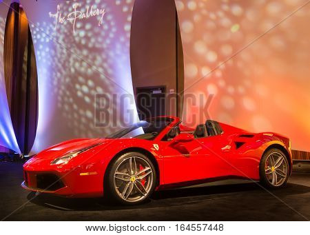 DETROIT MI/USA - JANUARY 8 2017: A 2017 Ferrari 488 car at The Gallery an event sponsored by the North American International Auto Show (NAIAS) and the MGM Grand Detroit.