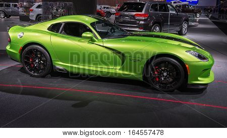 DETROIT MI/USA - JANUARY 9 2017: A Dodge Viper SRT car at the North American International Auto Show (NAIAS).