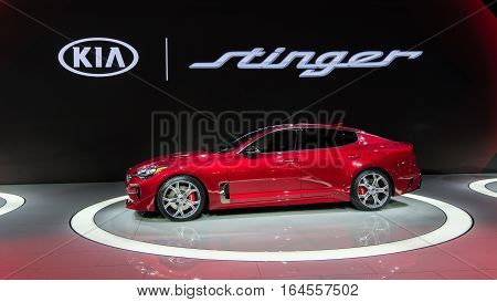 DETROIT MI/USA - JANUARY 9 2017: A 2018 Kia Stinger car at the North American International Auto Show (NAIAS).