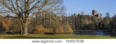 A panoramic view of Verulamium Park in the historic city of St. Albans England. The impressive St. Albans Cathedral can be seen in the distance.