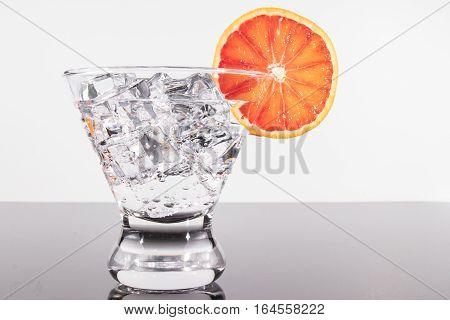 Sparkling Beverage In A Martini Glass With A Blood Orange Slice