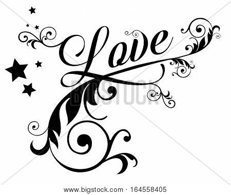 The word LOVE with swirls and stars