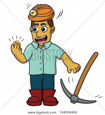 Cartoon illustration of a happy gold miner finding some gold. Vector image