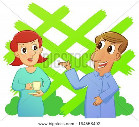 Cartoon of man and woman talking while enjoying a cup of drink with garden background. Vector illustration