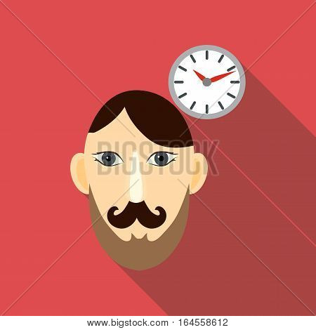 Time brain icon. Flat illustration of time brain vector icon for web