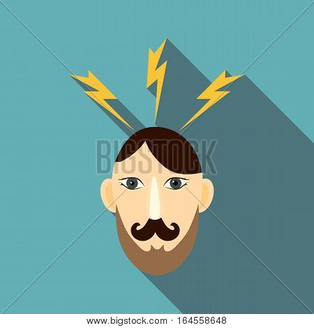 Angry man icon. Flat illustration of angry man vector icon for web