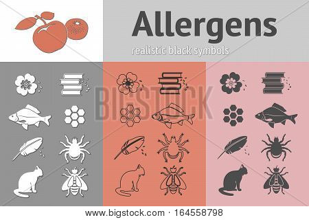 Allergen set. Fish, cat, insect, honey, bee, apple, mandarin, hackle, book, dust, pollen icons. Food and common allergy prevention symbols. Vector isolated