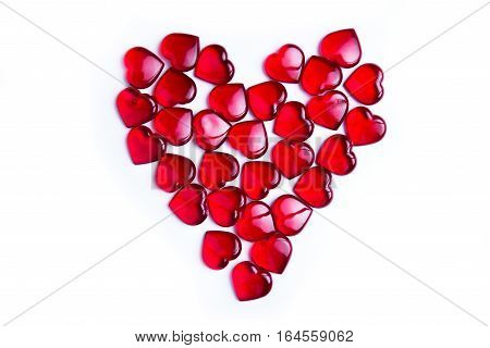 Valentine's day red hearts on white background
