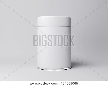White jar with label in bright studio. 3d rendering