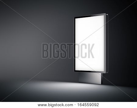 Silver billboard with white screen glowing in the dark. 3d rendering