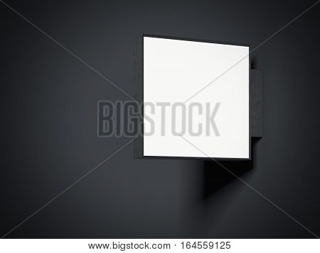 Empty metal signboard in a dark studio. 3d rendering