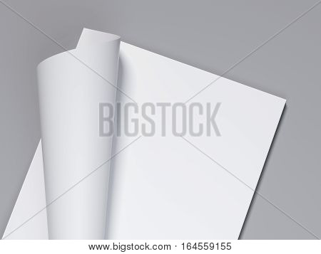 White blank sheet with curled corner. 3d rendering