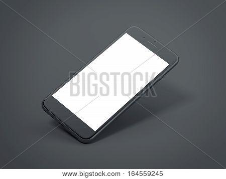 Dark modern smartphone with blank screen in a black studio. 3d rendering