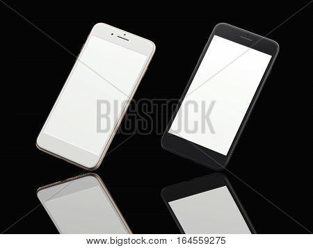 Two modern smartphones in black studio with reflecting floor. 3d rendering