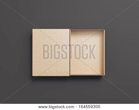 Brown opened cardboard package on gray floor. 3d rendering