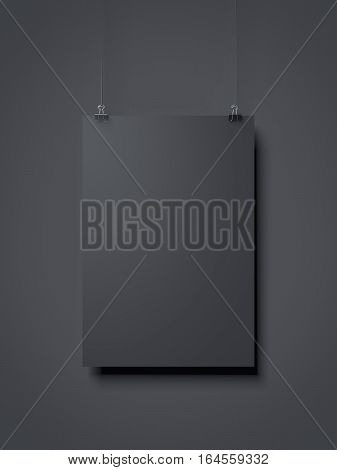 Black sheet of paper on a gray background. 3d rendering