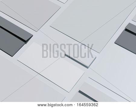 Gray branding mockup with dark envelopes on a bright floor. 3d rendering