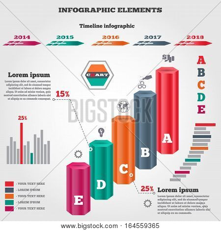 Infographics elements. Three dimensional columns. Chart of data with icons and shadow. Business five step options. Prismatic solid, timeline diagram. Colored banner. Vector