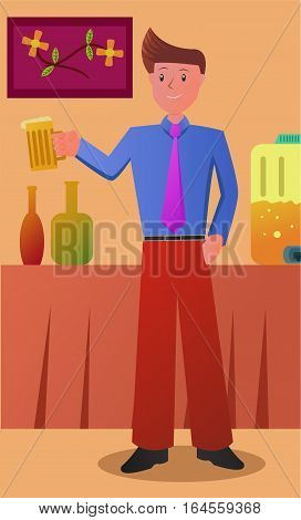 Illustration of a man holding glass in a party
