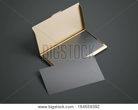 Golden case with black blank business cards on a dark floor. 3d rendering