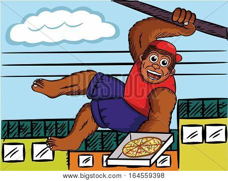 Vector illustration of a big monkey working as pizza delivery courier. Character is isolated from background