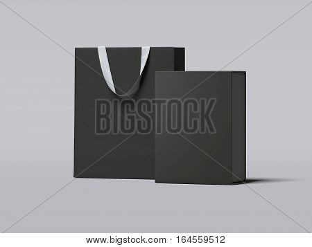 Black box and luxury shopping bag on gray floor. 3d rendering