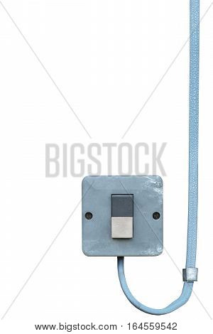 Outdoor electric equipment control industrial button power switch closeup, isolated old aged weathered grungy blue wire cable large vertical copy space