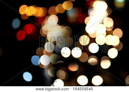 Night City Street Lights Bokeh Background.