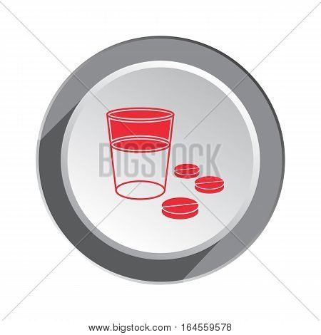 Pill, drug icon. Health, medicine symbol. Tablet and glass of water medical sign. Three dimensional round button with shadow. Vector