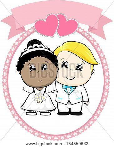 inter racial couple bride and groom with white suit on round frame whit heart and empty banner isolated on white background ideal for funny wedding invitation