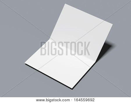 Opened blank leaflet on a gray floor. 3d rendering