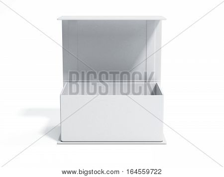 White opened gift box in a bright studio. 3d rendering