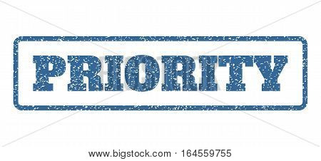 Cobalt Blue rubber seal stamp with Priority text. Vector tag inside rounded rectangular frame. Grunge design and dirty texture for watermark labels. Horisontal sticker on a white background.