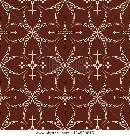 Religion seamless pattern. Laurel wreath, lace view texture with cross. Ceremonial, funeral background. Swirl stylized ornament. Brown, beige colored. Vector