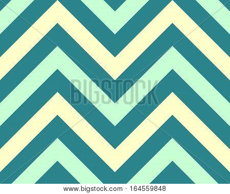 Striped, zigzagging seamless pattern. Zig-zag line texture. Stripy geometric background. Turquoise contrast colored. Winter theme. Vector