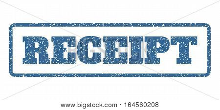 Cobalt Blue rubber seal stamp with Receipt text. Vector caption inside rounded rectangular frame. Grunge design and unclean texture for watermark labels. Horisontal sign on a white background.