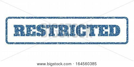 Cobalt Blue rubber seal stamp with Restricted text. Vector caption inside rounded rectangular shape. Grunge design and dirty texture for watermark labels. Horisontal sticker on a white background.